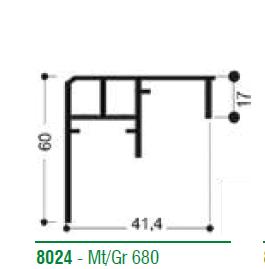 Rail 8024-70 mm  2.5m inf 001-80 yeni